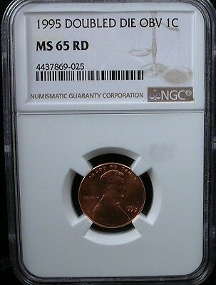 1995 LINCOLN CENT Doubled Die OBV NGC CERTIFIED MS-65 DEEP FROSTY RED
