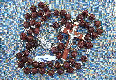 Catholic Rosary GENUINE COCOA Wood DK BROWN 6mm Carved beads NOS Made in Italy