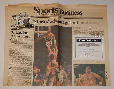 Charles Barkley Philadelphia 76Ers Authentic Autographed Newspaper With Coa