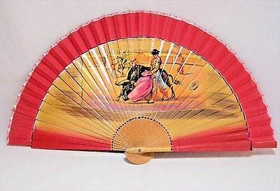 Vintage Spanish Bull Fighter Folding Fan Red Fabric Wood Stays 117Dz