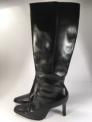 White Mt. Black Leather High Heel Boots Women's Sz 6.5M Pointed Toe