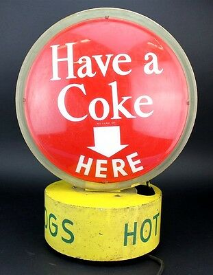 RARE Vintage 1950's Coca Cola Hot Dogs Double Sided Rotating Coke Display Sign
