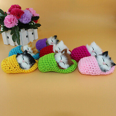 Cute Super Mini Sleeping Cat Simulation Doll With Sound Toy Boys Girls Kids Gift