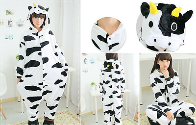 Adult Unisex Kigurumi Pajamas Animal Cosplay Costume Onesie Sleepwear Cows
