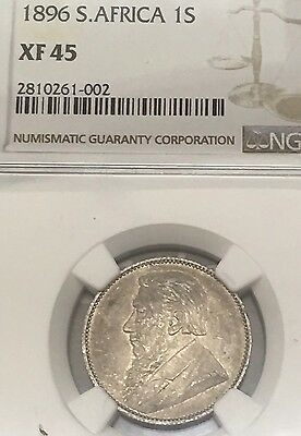 1896 South Africa 1 Shillings NGC XF 45 Large Foreign Silver Coin