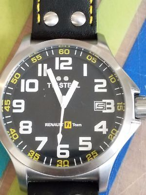 50MM Renault F1 Team Pilot TW670 TW Stainless Steel Leather Men's Black Watch