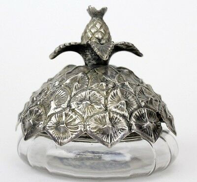 Signed GORHAM 1933 Sterling Silver Pineapple Top Glass Condiment Mustard Pot SMS