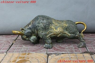 Old Chinese fengshui bronze gilt wealth Dragon Kirin Ox bull cattle lucky statue