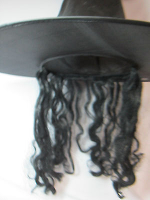 Black Witch Hat with Long Black Hair Attached Witches Halloween Costume Dress Up