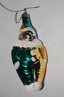 Vintage Christmas Ornament Clown Retro Ornament Green Gold