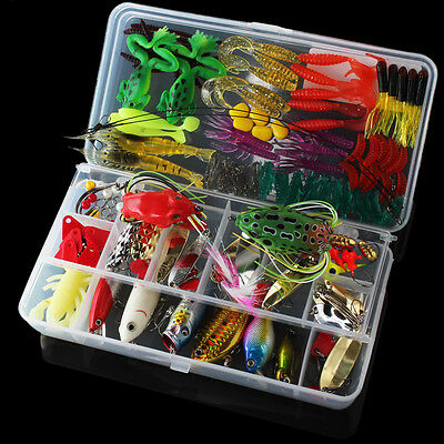 131pcs Fishing Lures Kit Mixed Crankbaits Hooks Minnow Bass Baits Tackle w/ Box