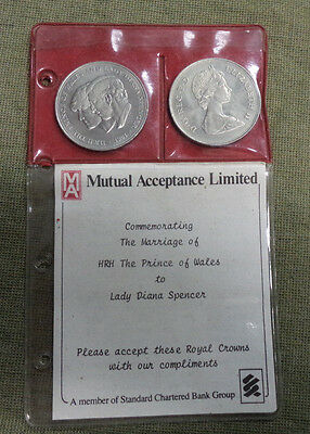 #d292. Folder Pair 1981 Crowns  For Marriage Prince Charles & Lady Diana Spencer