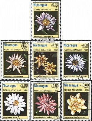 Nicaragua 2201-2207 (complete issue) used 1981 Water Flowers