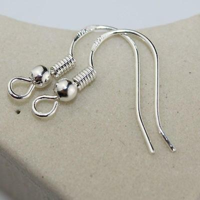 Wholesale Lots 100Pcs Plated 925 Silver Earrings Hook Coil bead ear Wires