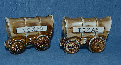 "Vintage Set Of Salt & Pepper Shakers Cute Covered Chuck Wagons Marked ""texas"""