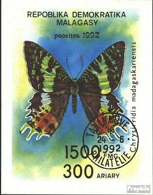 Madagascar block190 (complete issue) used 1992 Butterflies