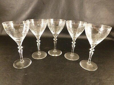 """Set of (5) Vintage 5.25"""" Tall x 2.5"""" Wide Etched Crystal Port Mini Wine Glasses"""