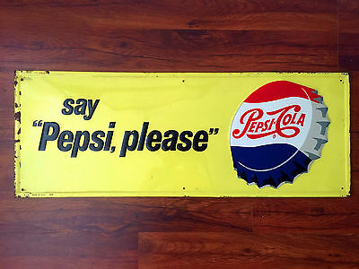 """1956 """"SAY PEPSI PLEASE"""" embossed Pepsi sign with bottle cap - bright and glossy"""