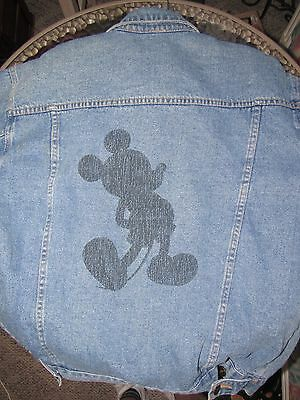 Denim Button Front Size: Medium Mickey Mouse Silhouette Jacket Walt Disney