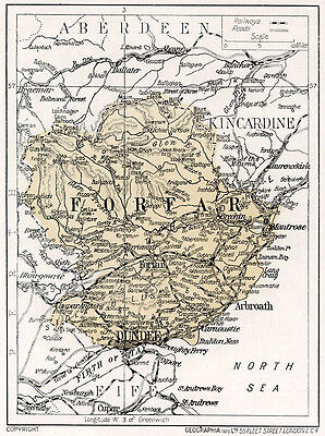 1923 map of Scotland: Forfar, Dundee  in mount