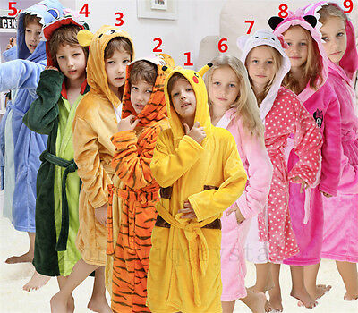 Pokemon Pikachu Kids Stitch Bathrobe Warm Night-robe Child Nightwear Kids Gift