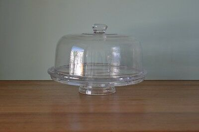 Heavy glass cake stand dome segment serving bowl dish party