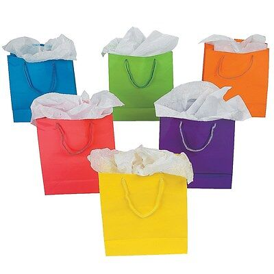 Medium Coloured Paper Gift Bags With Handles Pack Of 12 Birthday Party Supplies