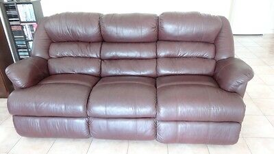Leather Lounge large 3 seater with 2 recliners