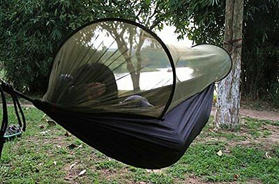 """Outdoor Camping Hammock with Mosquito Net Tunnel 98""""-Lx47""""-W army green"""