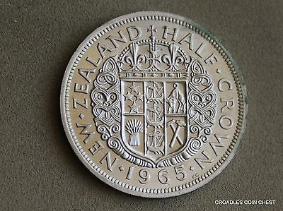 1965 New Zealand Half Crown Uncirculated  Example Lustre  #cadl2