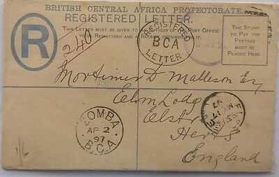 British Central Africa Protectorate Nyasaland 1897 Registered Stationery Cover