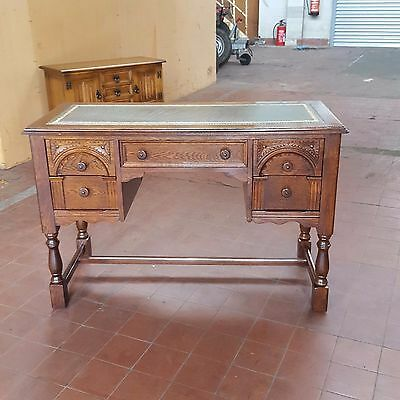 Antique/reproduction Oak Old Charm/locks Of London  Leather Topped Writing Desk