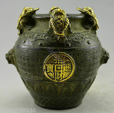 Collectible Decorated Old Handwork Bronze Carved Toad Spittor Bring Money Pot