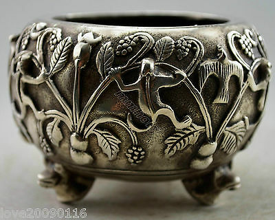 Collectible Decorated Old Handwork Silver Plate Copper Carved Squirrel Tree Pot