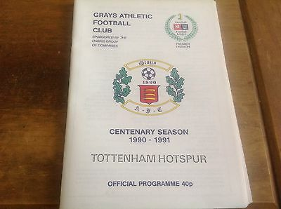 Grays Athletic V Tottenham,Friendly 1990.Mint Condition.