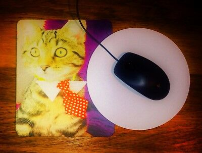 Personalised Mouse Mat Round or Rectangular (fabric top, 3.5 mm rubber base)