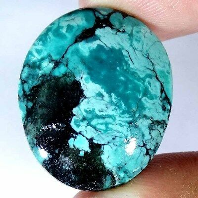 40.95CTs NATURAL TIBET TURQUOISE OVAL CABOCHON HIGH GRADE UNTREATED GEMSTONE