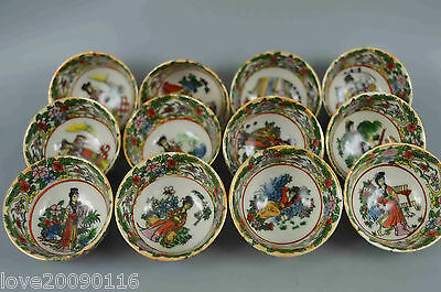 China Collectible Handwork Decoration porcelain painting classical belle 12 bowl