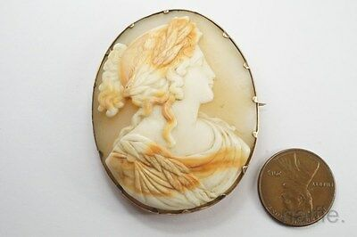 ANTIQUE GEORGIAN GOLD FINELY CARVED SHELL HERA / JUNO CAMEO BROOCH c1820
