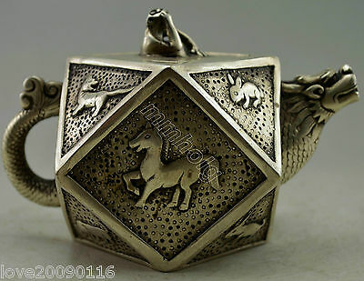 Collectible Decorated Old Handwork Miao Silver Carve 12 Zodiac Animals Tea pot