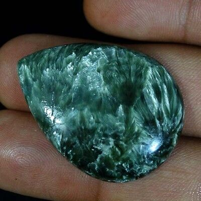 44.00Cts. SUPER 100% NATURAL DESIGNER GREEN SERAPHINITE PEAR CABOCHON GEMSTONES