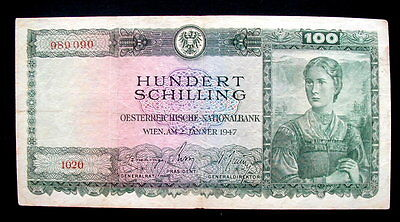 1947 AUSTRIA Banknote 100 Shilling VF  Quality