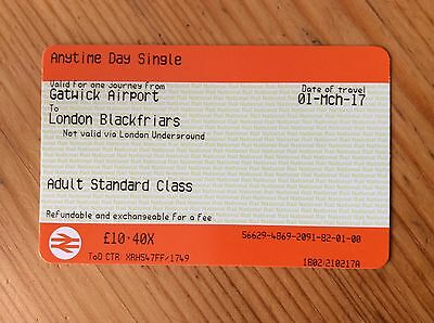 GATWICK TO LONDON 1st MARCH  ANYTIME DAY SINGLE