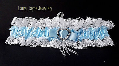 Blue Satin with White lace bridal garter with sparkling heart design