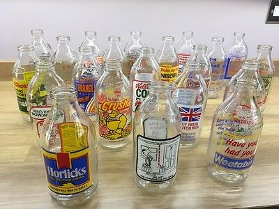 Vintage Unigate Milk Bottles  with Adverts 40 + two crates