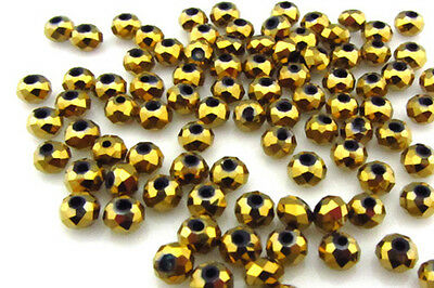 NEW Jewelry Faceted 100 pcs Gold #5040 3x4mm Roundelle Crystal Beads DIY   BQ2