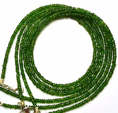 """Super Fine Quality Chrome Diopside Micro Facet 3MM Rondelle Bead Necklace 17"""""""