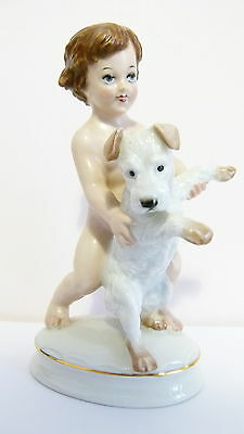 1930's Rosenthal Figure - Boy with Fox Terrier Dog - No. 494 by Max Fritz