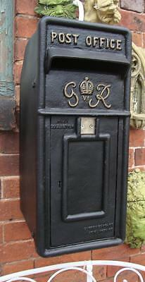 Royal Mail GR Black Postbox Letter Box Replica - Cast Iron - Lockable with Keys