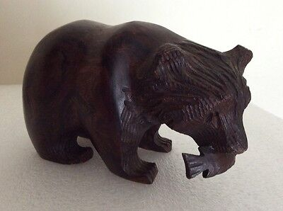 Carved Wooden Bear with Fish